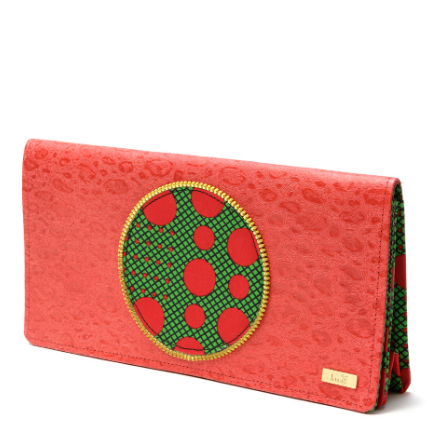 Red leather clutch bag  with green and red ankara African-print African fabric circle detail