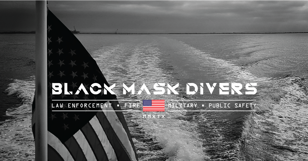Black Mask Divers SCUBA diving apparel company logo image with American Flag