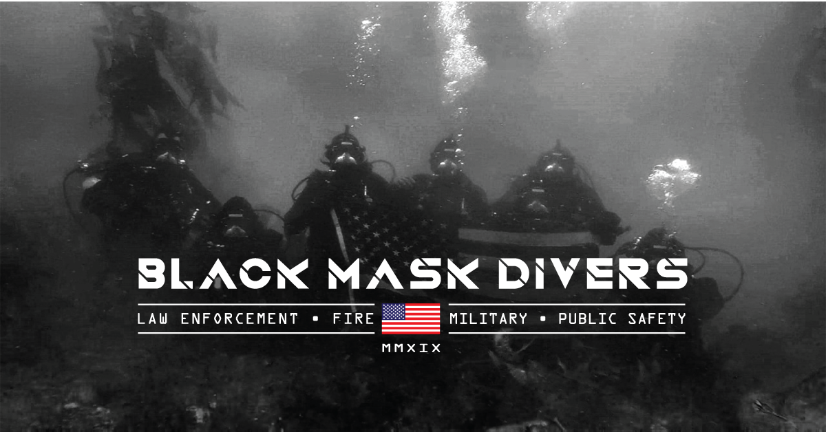 Black Mask Divers SCUBA diving apparel company logo image of divers with American Flag