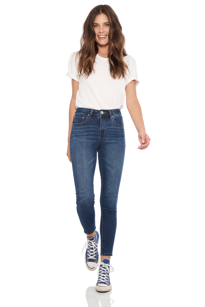 High rise super soft skinny denim in medium blue wash with 5 pocket details. Whiskers at front and sanding at front and back, gold thread throughout and silver hardware.