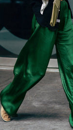 Silky Wide Leg Retro Pants