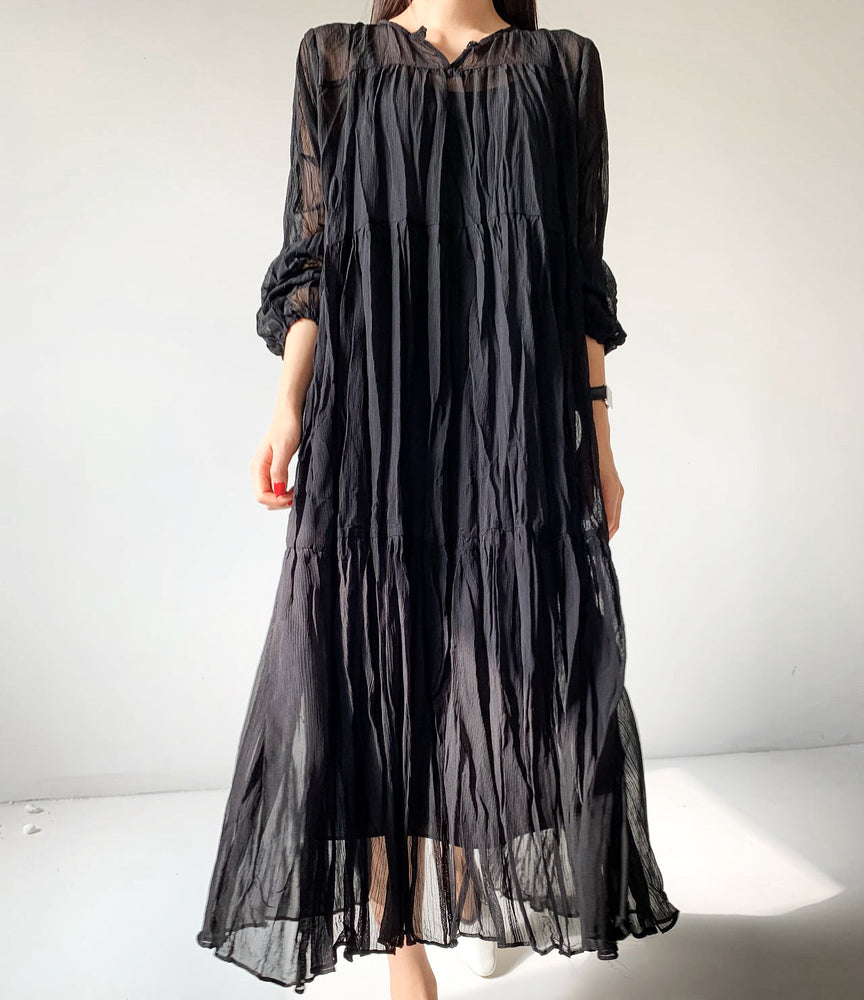 Sheer Peasant Dress black