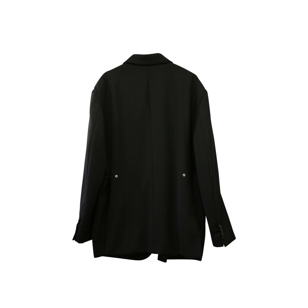 Button Tailored Tuxedo Blazer Black Back