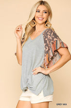 Load image into Gallery viewer, Grey Floral Ruffle Sleeve Top