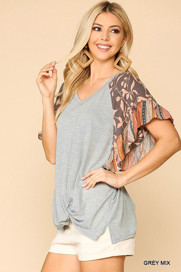 Grey Floral Ruffle Sleeve Top
