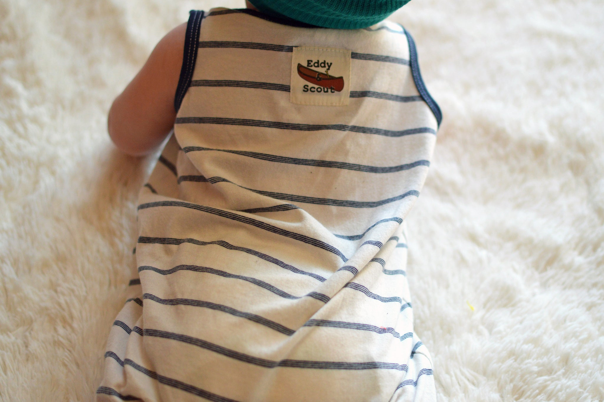 striped navy baby boy romper shorts back