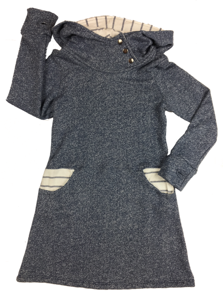 """Averie"" Hoodie Dress 2.0 in Denim blue French Terry and stripe"