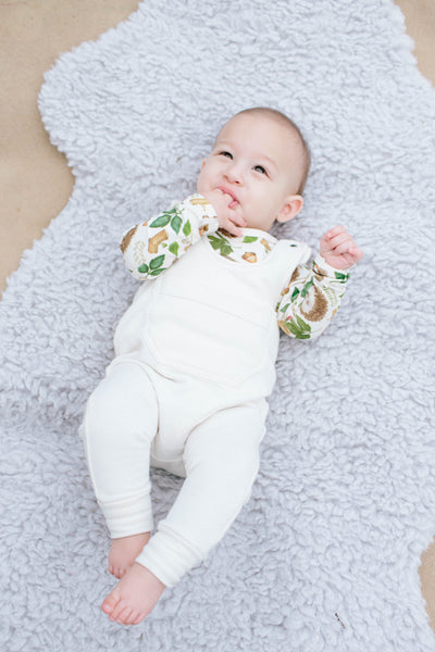 French Terry Bamboo Overall Romper in Natural