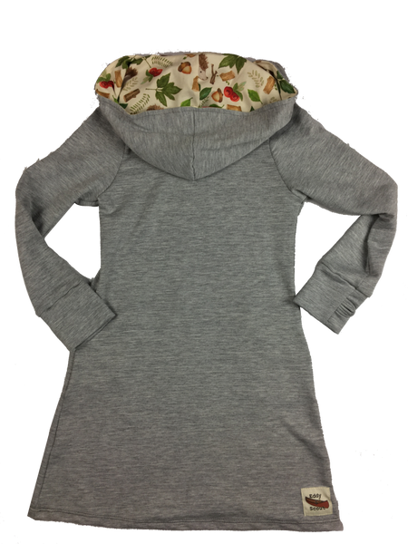 """Averie"" Hoodie Dress 2.0 in Grey Heather/Hedgehogs"