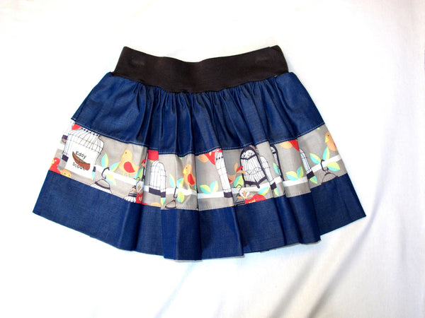 Penelope Pocket Skirt in Birds & Denim