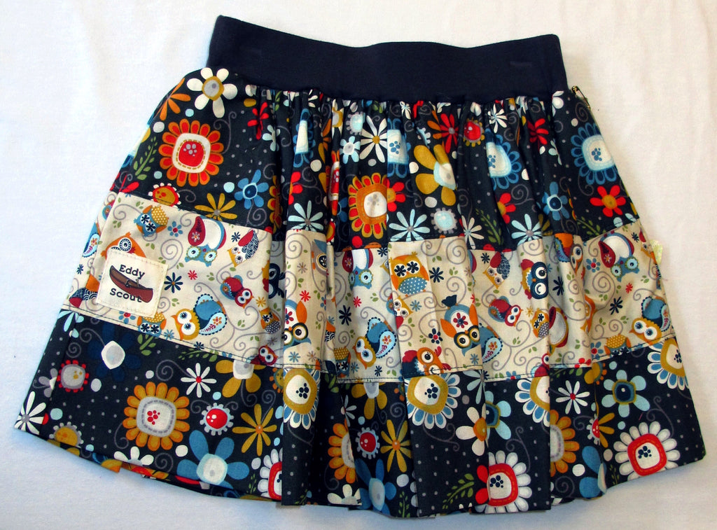 Penelope Pocket Skirt in Wild Flower & Owls