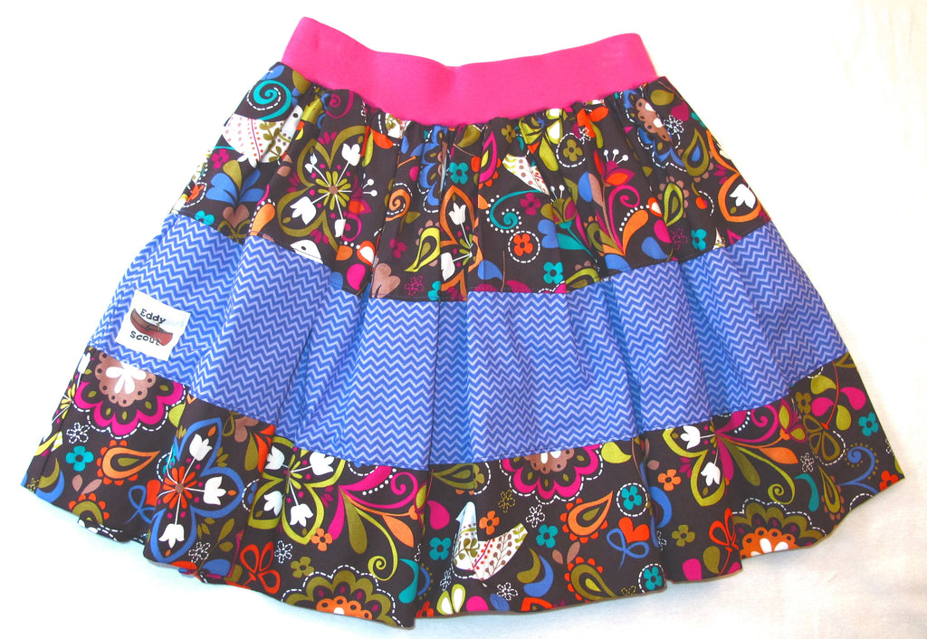 Penelope Pocket Skirt in Birdies & Purple Chevron
