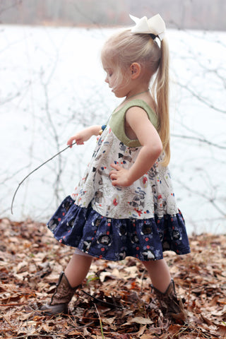 """Arianna"" Twirly dress in ""Woodland Party"""
