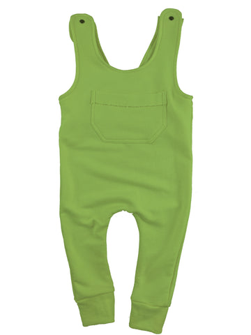 French Terry Bamboo Overall Romper in Greenery