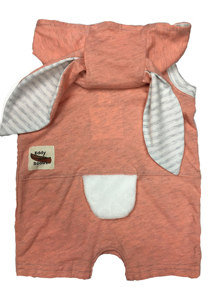 Bunny Critter Romper in Peachy Heather