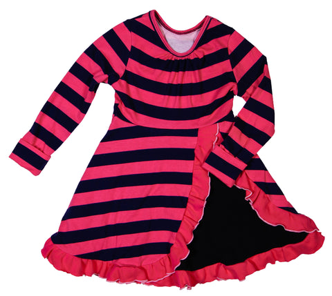 Hailey dress in Pink/Navy stripe