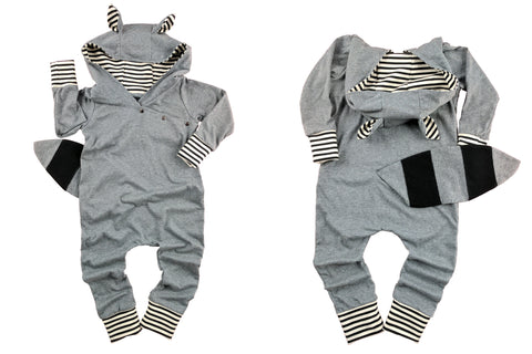 Critter Romper in Raccoon