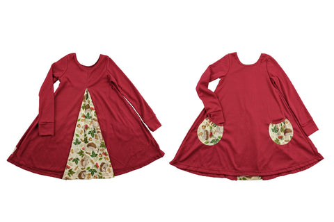 """Teegan"" A-line dress in Raspberry and Hedgehog"