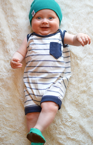 """Ryland"" shorts romper in beachy navy stripe"