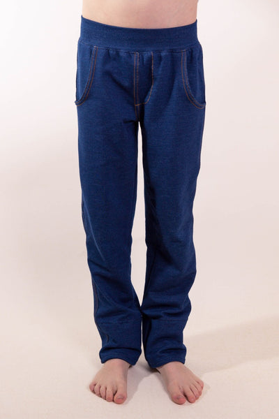 """Too soft to be jeans"" with variable inseam in Deep Blue and Washed Black"