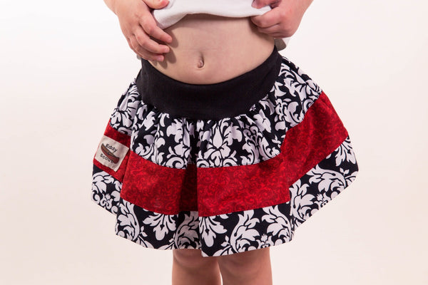 Penelope Pocket skirt in Damask and Red