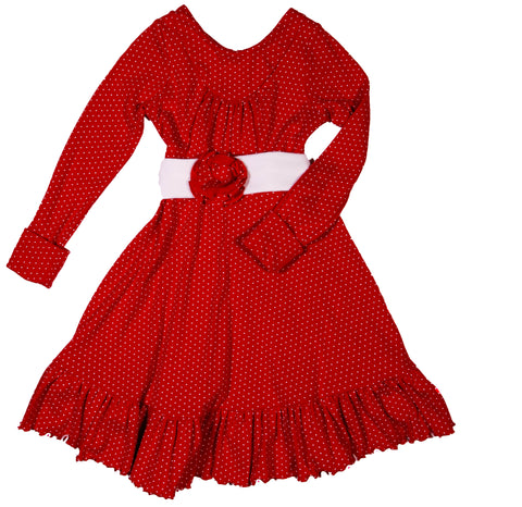 Greta Dress in Red Swiss dot