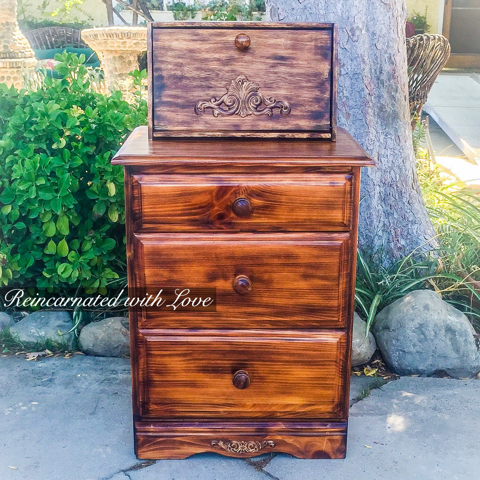 bedside table Torched rustic end table nightstand rustic side table wood upcycled rustic furniture Rustic Nightstand burnt wood