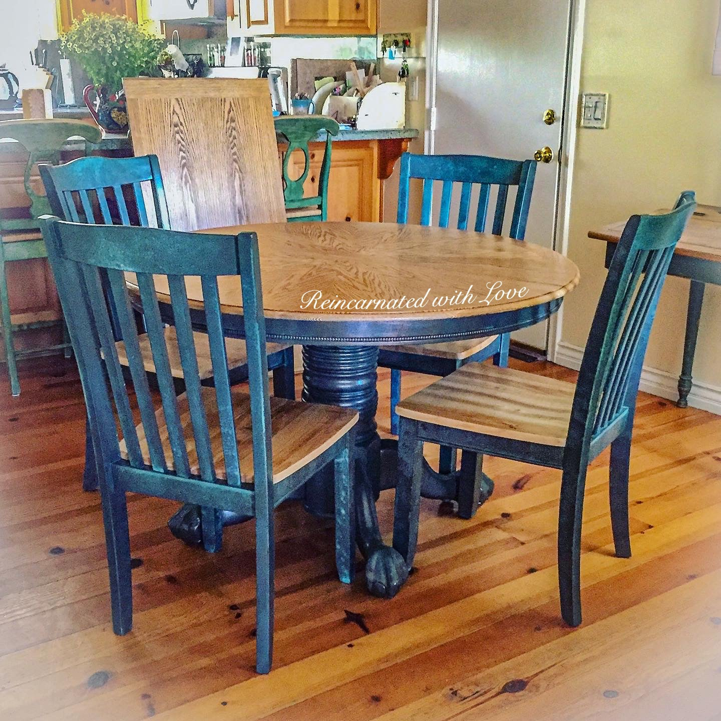 Shabby Chic Dining Set Painted Furniture Reincarnated With Love Reincarnated With Love
