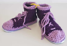 Load image into Gallery viewer, Chrysalis Crochet Cotton Hi-Top Bag Slippers