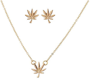 Lux Marijuana Necklace & Earring Set