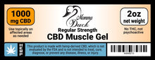 Load image into Gallery viewer, Momma Duck CBD Muscle Gel 1000 Label