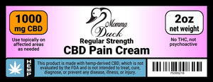 Momma Duck CBD Pain Cream 1000 2oz Label