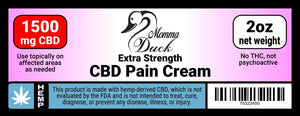 Momma Duck CBD Pain Cream 1500 2oz Label