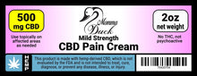 Load image into Gallery viewer, Momma Duck CBD Pain Cream 500 2oz Label