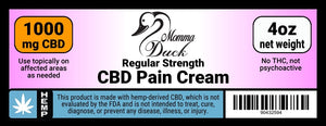 Momma Duck CBD Pain Cream 1000 4oz Label