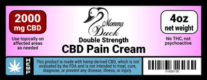 Momma Duck CBD Pain Cream 2000 4oz Label