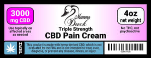 Momma Duck CBD Pain Cream 3000 4oz Label