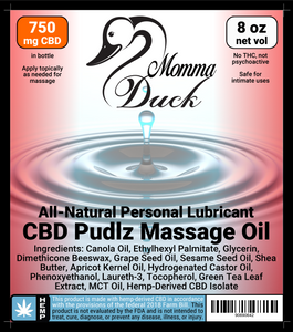 Momma Duck CBD Pudlz Massage Oil Label