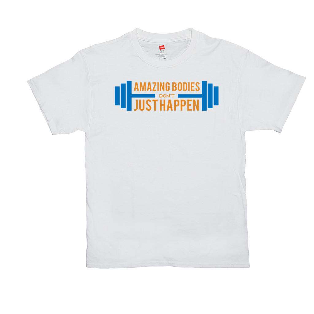 "Unisex T-Shirts - GN  - ""Amazing bodies don't just happen"" - fitness, exercise, weightlifting, bodybuilding, workout, cross fit"