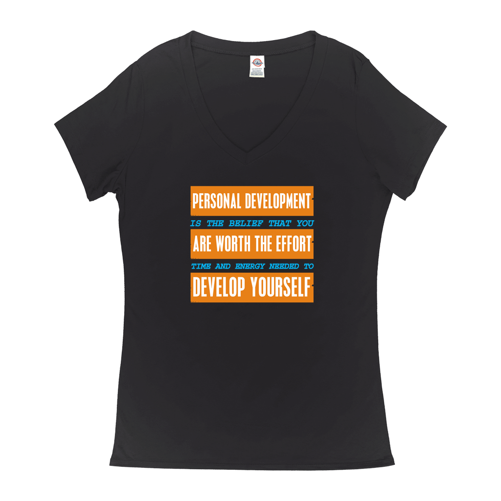 Personal Development Is... - V-Neck T-Shirts - GN - motivational, self-help, success