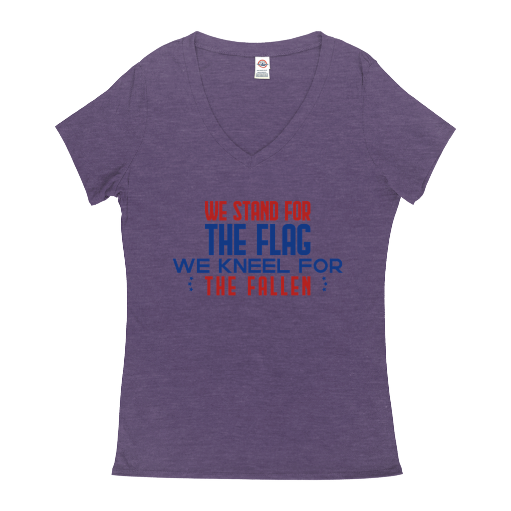 We stand for the flag, we kneel for the fallen - V-Neck T-Shirts - GN - patriotic, inspirational