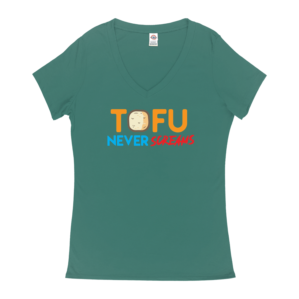 "V-Neck T-Shirts - GN - ""Tofu Never Screams"" - vegetarian, vegetarianism, funny sayings, funny quotes, funny gifts"