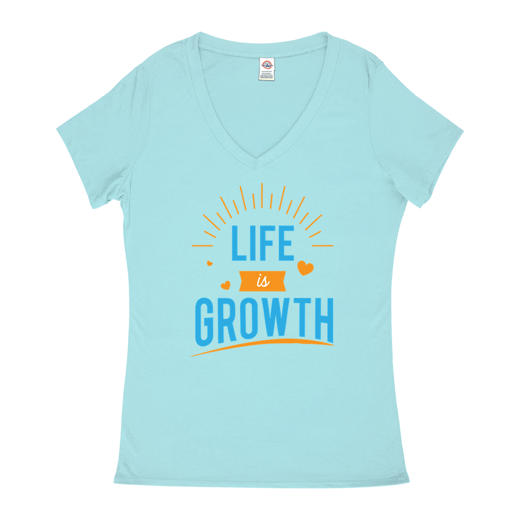 Life is Growth - V-Neck T-Shirts - GN - motivational, self-help, success