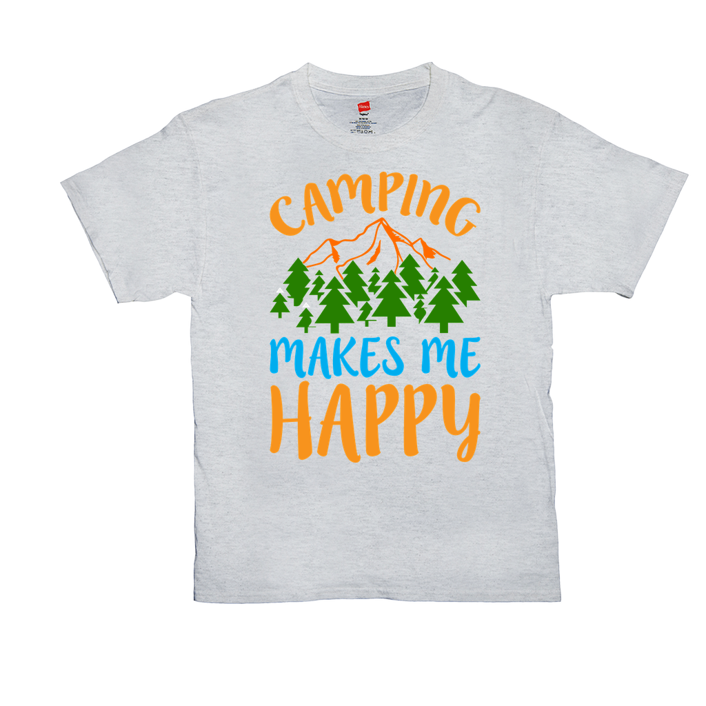 Camping makes me happy - Unisex T-Shirts - GN - camping, hiking, nature, outdoors