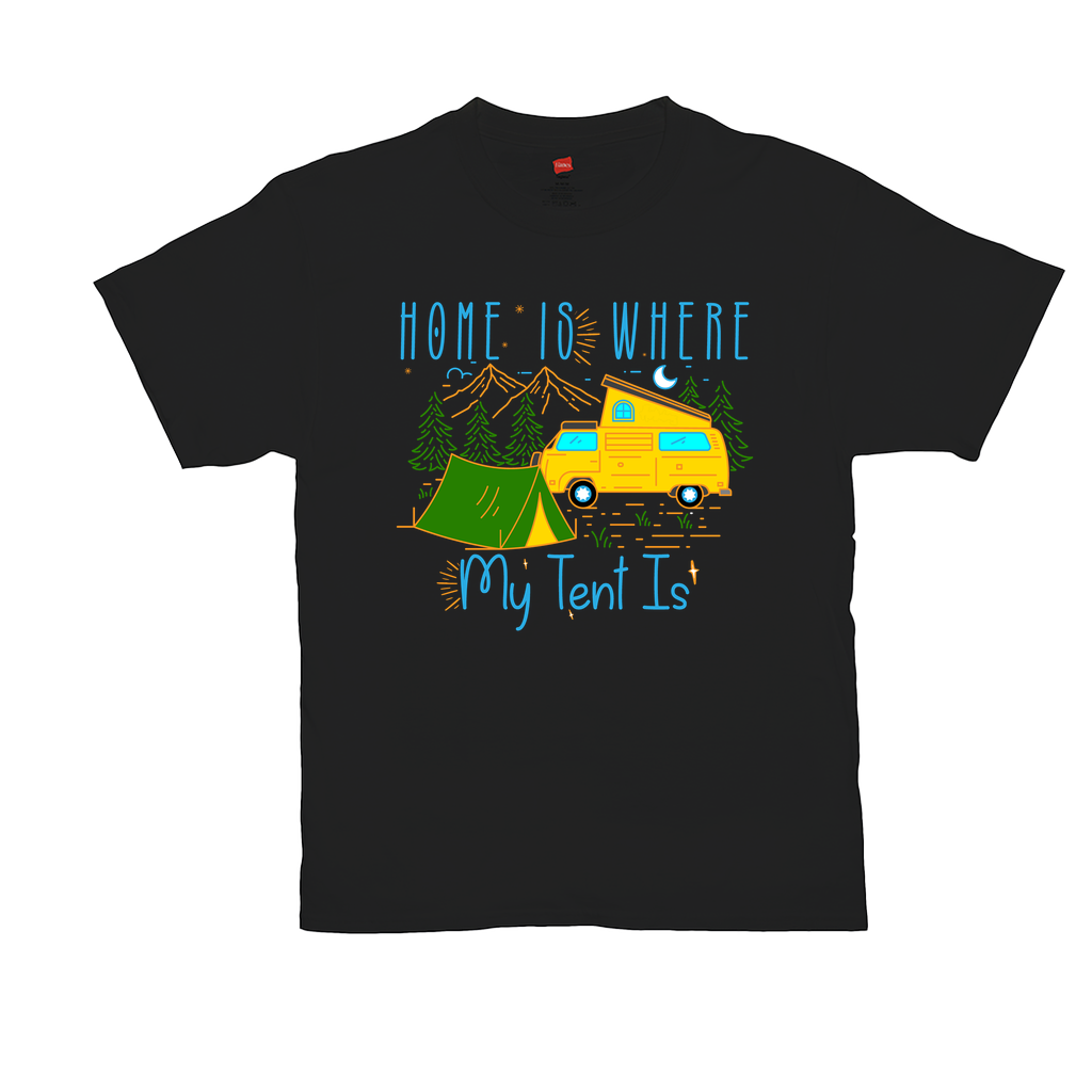 Home is where my tent is - Unisex T-Shirts - GN - camping, hiking, outdoors, nature