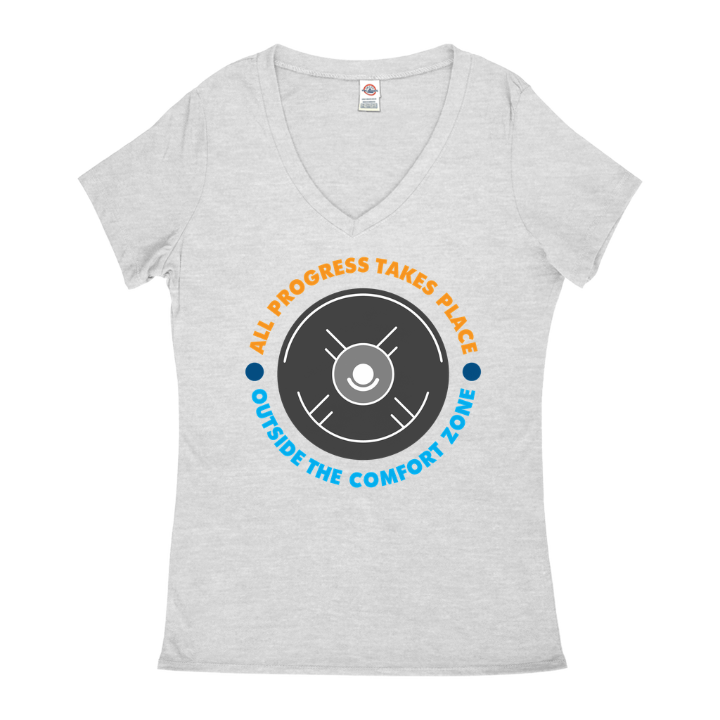 "V-Neck T-Shirts - Gn - ""All Progress Takes Place Outside The Comfort Zone"" - Motivational, Self-Help, Success"