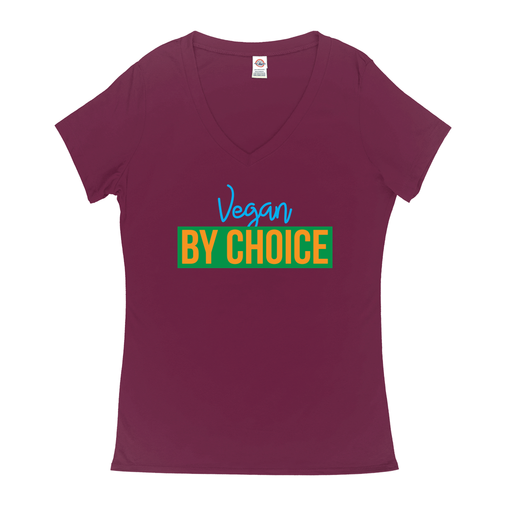 Vegan By Choice - V-Neck T-Shirts - GN - new, vegan, funny sayings, funny quotes, funny gifts