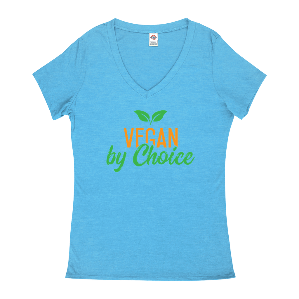 Vegan By Choice - V-Neck T-Shirts - GN - vegan, funny sayings, funny quotes, funny gifts