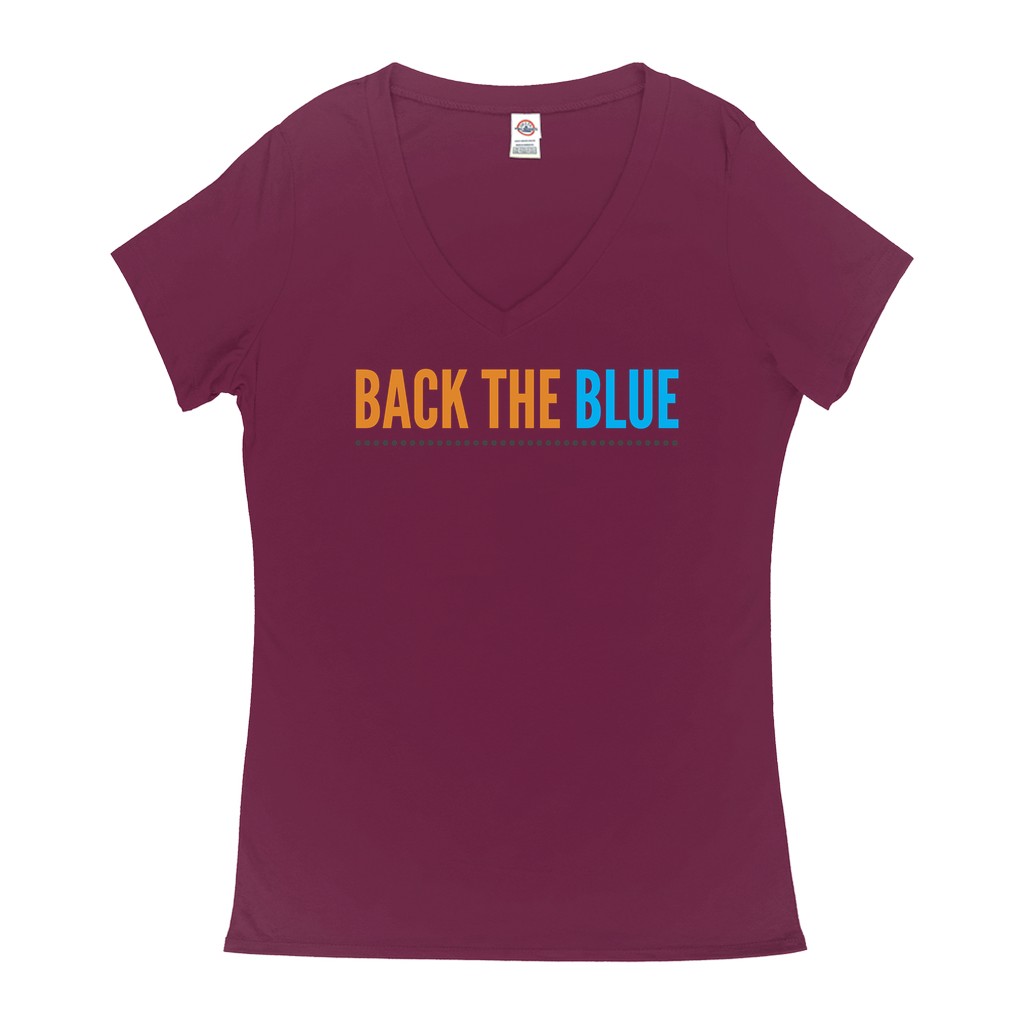 "V-Neck T-Shirts - GN - ""Back the Blue"" - 04, blue lives matter, patriotic, inspirational, Police"