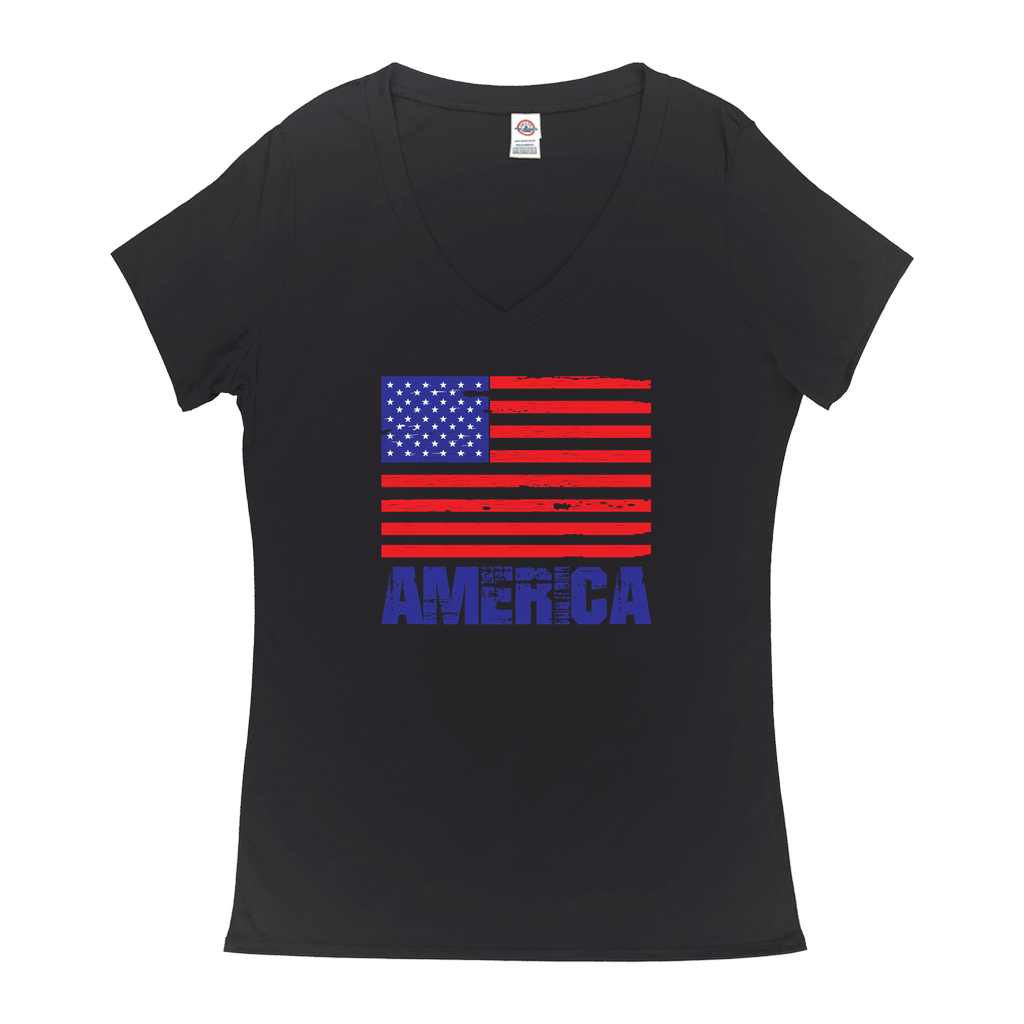 "V-Neck T-Shirts - GN - ""America"" - patriotic, inspirational, vote, politics, American flag, USA"